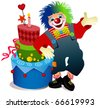 Clown with birthday cake - stock vector