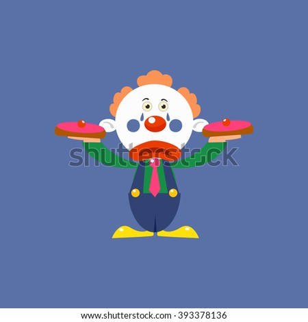 Clown With Pies Simplified Isolated Flat Vector Drawing In Cartoon Manner - stock vector