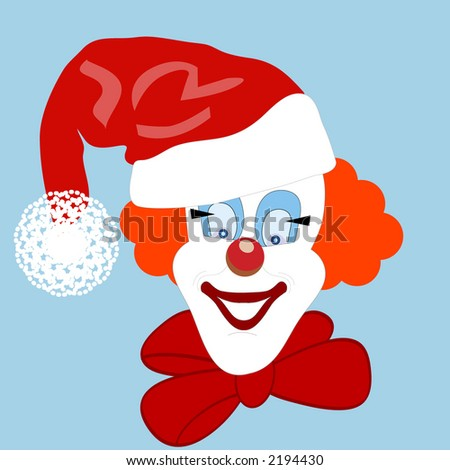 clown with santa hat - stock vector
