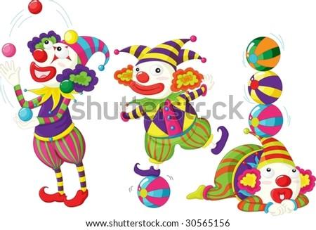 clowns entertaining - stock vector