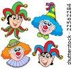 Clowns head collection 2 - vector illustration. - stock vector