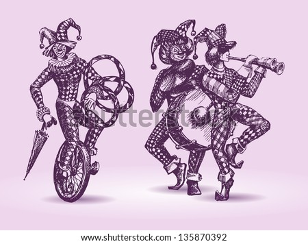 Clowns illustration - stock vector