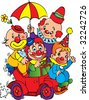 Clowns in the car on a white background. Vector art-illustration. - stock vector