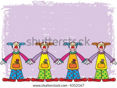 clowns with purple background (vector) - cartoon illustration