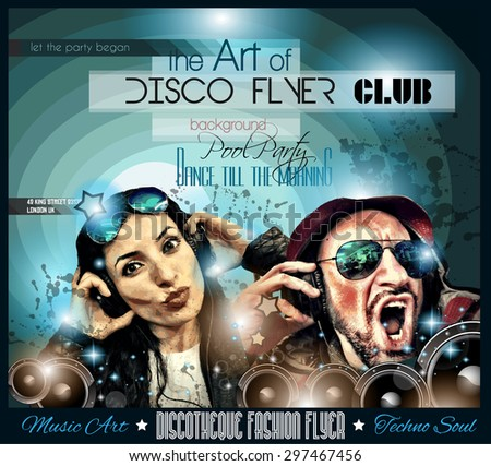 Club Disco Flyer Set with DJs and Colorful Scalable backgrounds. A lot of diffente style flyer for your techno, hip hop, electro or metal  music event Posters and advertising - stock vector