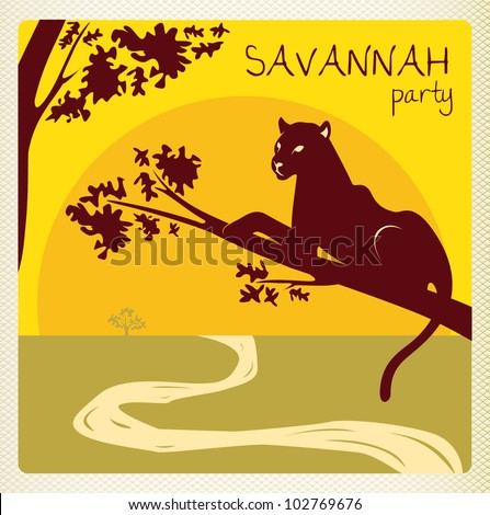 club party invitation flyer card in africa savannah style with panther - stock vector