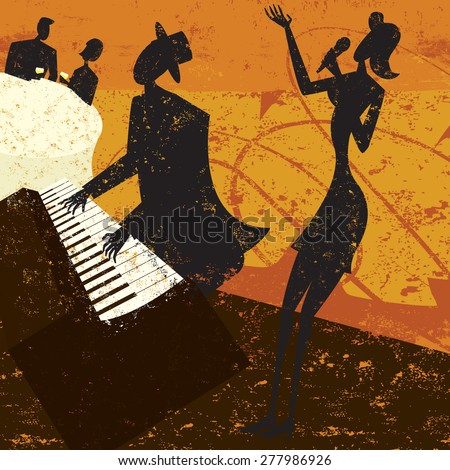 Club Singer A jazz club singer with a piano player and a couple sitting at a table drinking wine. The people and the background are on separate labeled layers. - stock vector