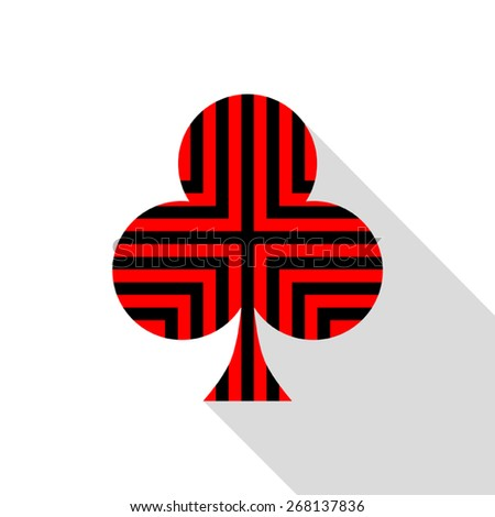 Clubs card  with striped red and black. on white background. - stock vector
