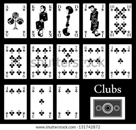 clubs cards - stock vector