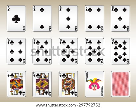 Clubs Playing Cards Set - stock vector