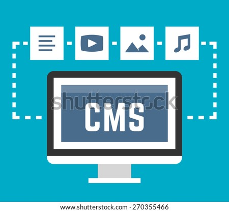 CMS concept on blue background, vector illustration - stock vector