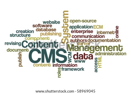 CMS Content Management System - Word Cloud - stock vector