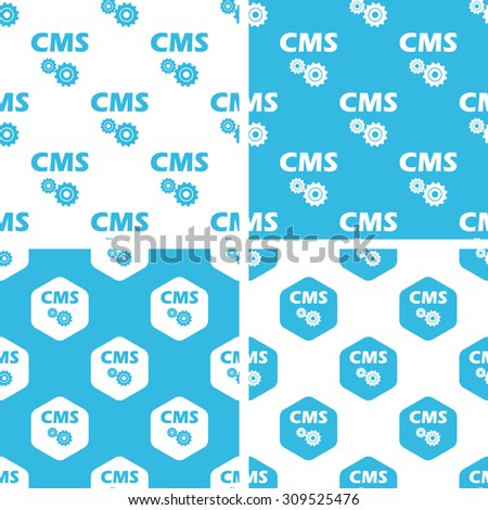CMS settings patterns set, simple and hexagon, blue and white - stock vector