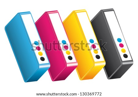 CMYK CMJN Ink toners. Cartridges vector icon. - stock vector