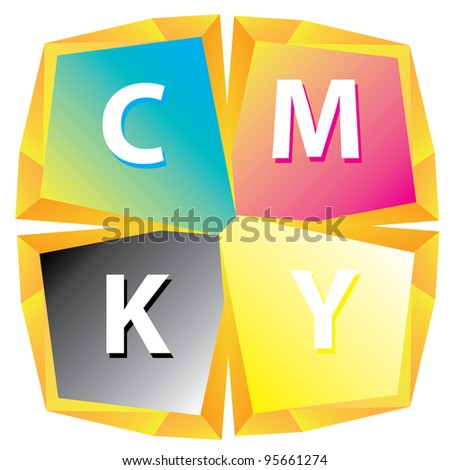 CMYK color abstract figure. vector illustration. - stock vector
