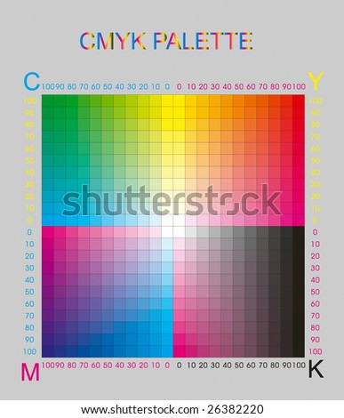 cmyk color palette on grey - stock vector