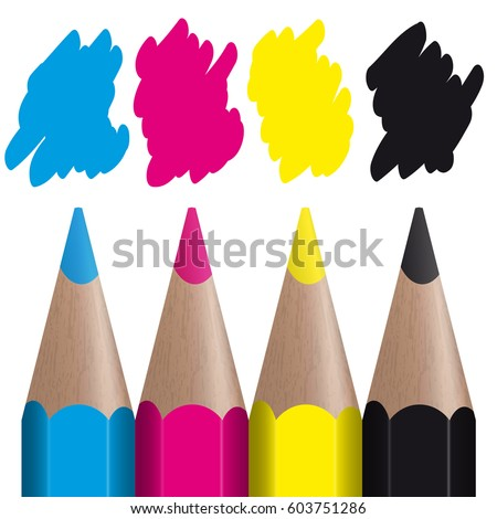 cmyk color print showing with four colored pencils with color splashes