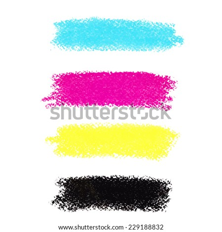 CMYK colors vector pastel crayon stains - stock vector
