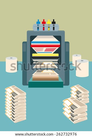 CMYK Four colored offset Roraty Printing Press machine used to print  thousands to millions of copies of daily newspaper. Editable EPS10 Vector and jpg. - stock vector