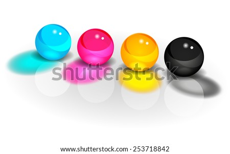 CMYK glass balls on a white background vector - stock vector
