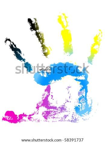 CMYK handprint vector - stock vector