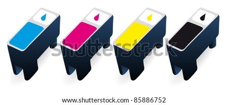 CMYK ink cartridges in perspective - stock vector