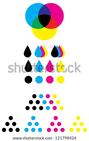 CMYK marks for use on cartridge or refill supplies - stock vector
