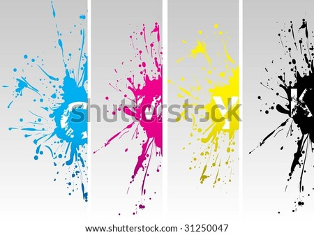 cmyk new splat - stock vector