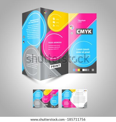 cmyk polygraphy - brochure design template - stock vector