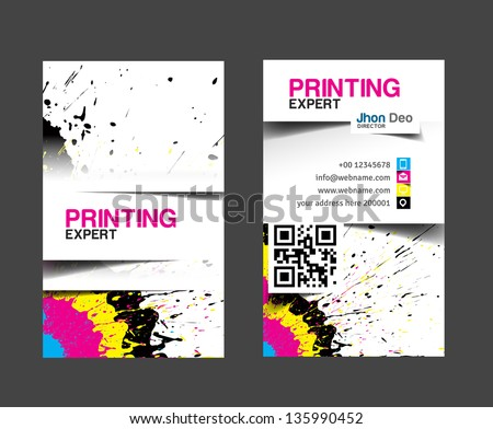 cmyk printing business card - stock vector