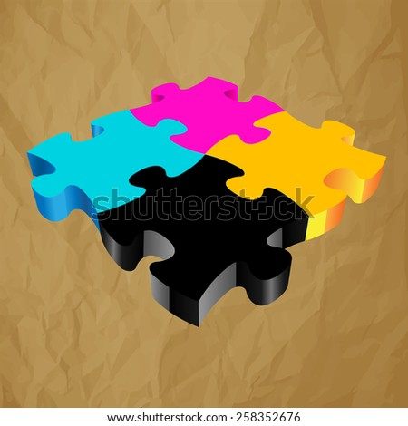 CMYK PUZZLE 3D vector on crumpled paper brown background  - stock vector