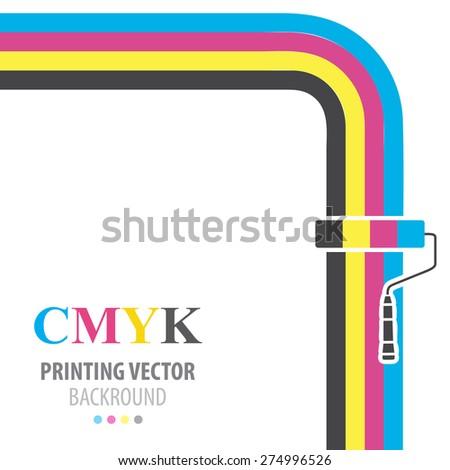 CMYK vector flat  background. Paint roller. - stock vector