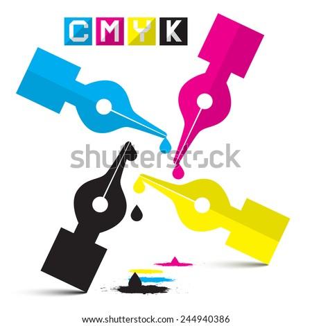 CMYK Vector Illustration Pen Symbols Isolated on White - stock vector