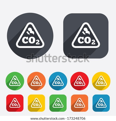 CO2 carbon dioxide formula sign icon. Chemistry symbol. Circles and rounded squares 12 buttons. Vector - stock vector