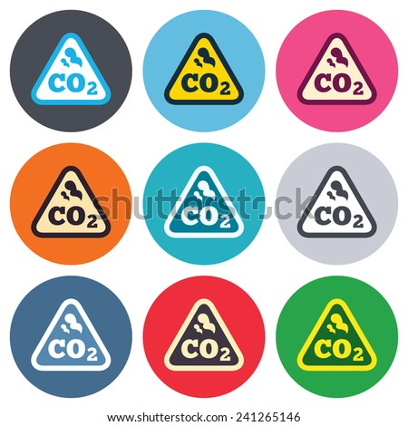 CO2 carbon dioxide formula sign icon. Chemistry symbol. Colored round buttons. Flat design circle icons set. Vector - stock vector