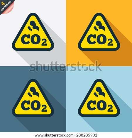 CO2 carbon dioxide formula sign icon. Chemistry symbol. Four squares. Colored Flat design buttons. Vector - stock vector