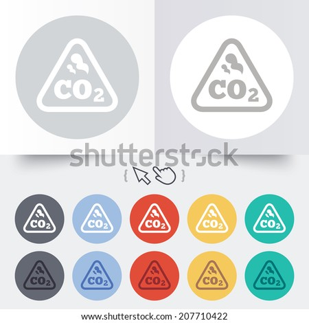 CO2 carbon dioxide formula sign icon. Chemistry symbol. Round 12 circle buttons. Shadow. Hand cursor pointer. Vector - stock vector