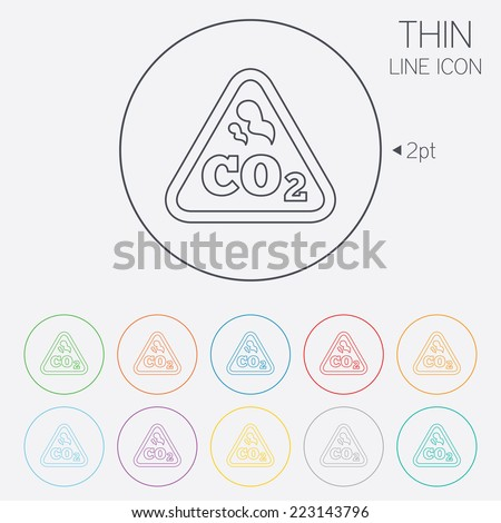 CO2 carbon dioxide formula sign icon. Chemistry symbol. Thin line circle web icons with outline. Vector - stock vector