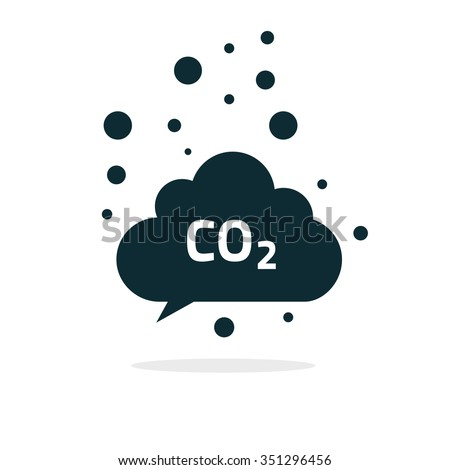 co2 emissions icon cloud vector flat, carbon dioxide emits symbol, smog pollution concept, smoke pollutant damage, contamination bubbles, garbage label, combustion products isolated modern design sign - stock vector