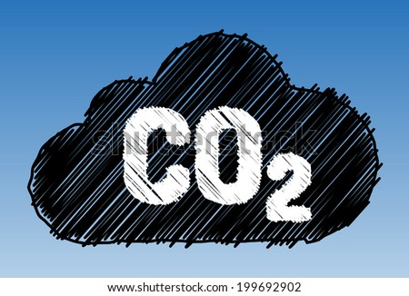 CO2 in cloud on sky background - pen style - stock vector