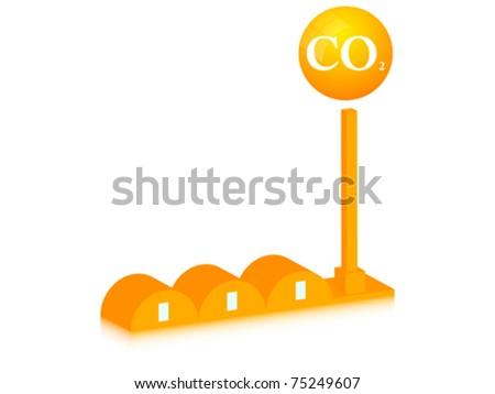 CO2 modern factory - stock vector