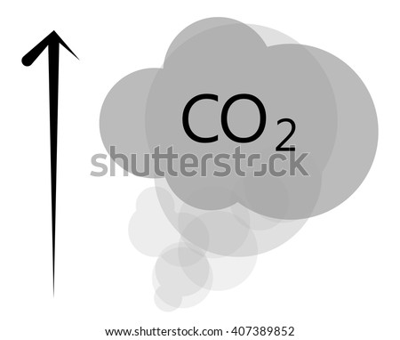 CO2 multilayer grey cloud on white background, urban smog - stock vector