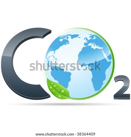 co2 symbol - pollution - stock vector