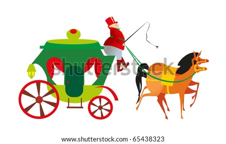 coach, and coachman on white background - stock vector