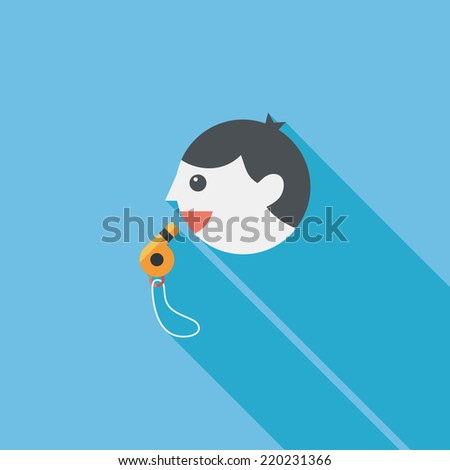 coach flat icon with long shadow,esp10 - stock vector