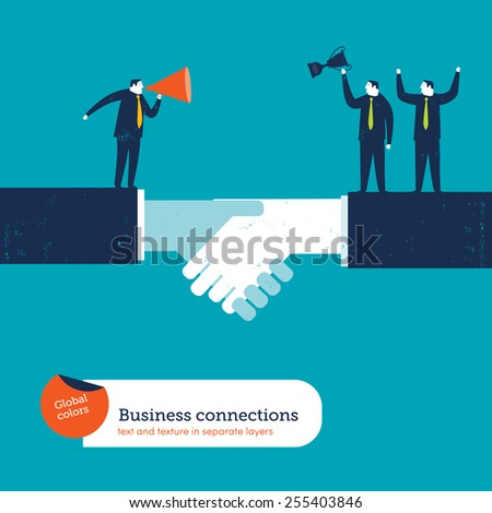 Coach with megaphone on a handshake motivating businessmen. Vector illustration Eps10 file. Global colors. Text and Texture in separate layers. - stock vector
