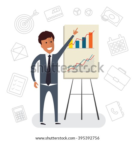 Coaching and grow. Financial growing with coaching. Coaching help showing growing charts. Flat vector illustration - stock vector