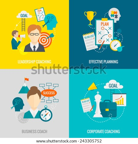 Coaching business design concept set with business corporate leadership coaching effective planning flat icons isolated vector illustration - stock vector