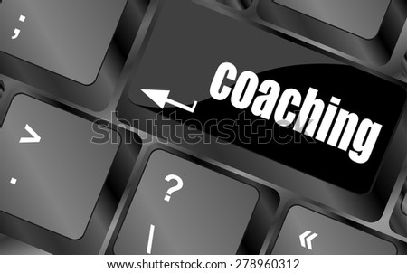 Coaching Button on Modern Computer Keyboard with Word coaching on It vector - stock vector