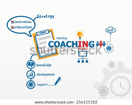 Coaching concept and notebook. Hand writing Action plan with blue marker - stock vector